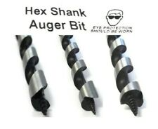 AUGER WOOD DRILL BITS JOINER CARPENTER FAST CUT 10mm To 32mm HEX SHANK