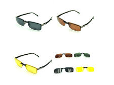 Polarized UV400 Clip On Sunglasses Sun Glasses Driving Night Vision Lens Shades
