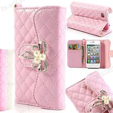 Diamond Leather Purse Wallet Bling Flip Metal Pearl Case Cover For Apple Samsung