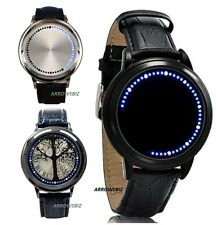 LED Lights Touch Screen Leather Strap Metal Alloy Wrist Watch Unisex Men Women