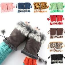 Fingerless Gloves Womens Mittens Faux Rabbit Fur Trim Keyboard Glove Mitten U75