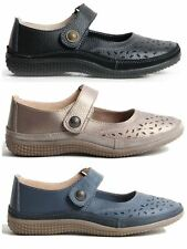 Womens Ladies Velcro Strap Genuine Leather Mary Jane Cut Out Toe Summer Shoes