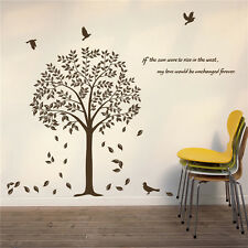 New Vinyl Art Wall Stickers Home Decor DIY Tree With Fallen leaves Birds Decals