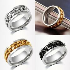 1Pcs Unisex Hot Fashion Personality Stainless Steel Rotatable Chain Charm Rings