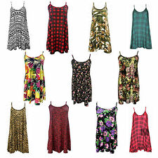 Womens Ladies Long Camisole Cami Floral Strappy Swing Vest Top Flared Dress NEW