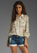 New Winter Kate Rose Petals Sleeper Blouse 100% Silk Top Med & Large Retail $250