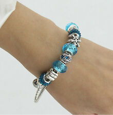 Childs Charm  Snowflake Bracelet Murano Blue or Clear Glass & Crystal Beads