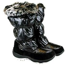 LADIES WOMENS QUILTED THERMAL GRIP SOLE MID CALF ZIP UP FUR WARM WINTER BOOTS