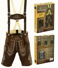 German bavarian authentic lederhosen men dark brown suede leather