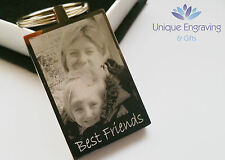 Personalised PHOTO AND TEXT Engraved Keyring Luxury S-Steel - Great Gift Idea!