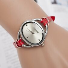 Fashion Casual Women's Faux Leather Bangle Bracelet Analog Quartz Wrist Watch