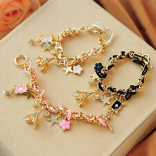 Fashion Eiffel Tower Star Flower Leather Crystal Chain Bangle Bracelet Jewelry