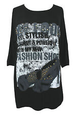 New Ladies Tunic Top Black Studded Print Sizes 16 - 32