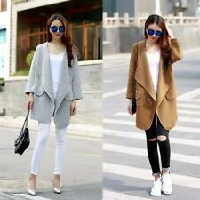 Womens Open Front Cardigan Long Knit Sweater Loose Coat Jacket Shawl Collar R5QA
