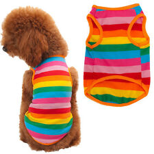 Colorful Rainbow Stripe Pet Shirt Dog Clothes Puppy Cat Apparel Costume Clothing