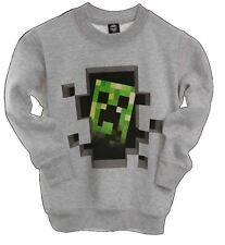Minecraft Sweater | Mine Craft Jumper | Official | CREEPER INSIDE | Youth GREY