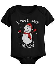 I Love Warm Hugs Snowman X-mas Infant Bodysuit Cute Christmas Baby Onesie