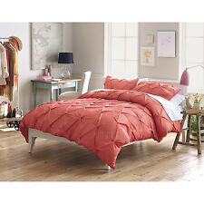 NEW Threshold Pinched Pleat 3 Piece KING Duvet Cover Set Coral/Rose 100% COTTON