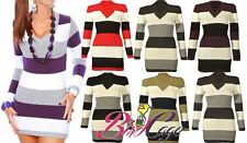 New Womens Ladies Sexy Knitted Long Sleeve V neck Mini Dress Tunic Jumper 8-16