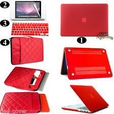 Red Rubberized Hard Case Carrying Sleeve Bag Keyboard Cover For Apple Macbook