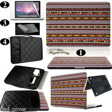 Azetc Patter  Rubberized Hard Case+Carrying Bag+Keyboard Cover For Apple Macbook