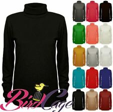 Women Ladies Plain Polo Turtle Neck Stretch Long Sleeve Layering Top Jumper 8-22