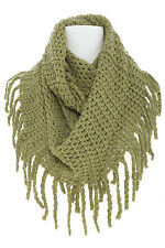 LOOP DESIGN KNITTED INFINITY SCARF WITH LONG FRINGE