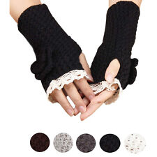 Lace Flowers Fingerless Knitted Gloves Women's Warm Winter Knit Gloves Mittens