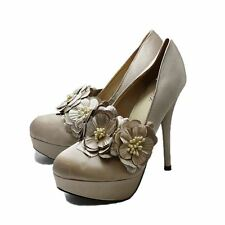 Champagne Satin high heel court shoes with removeable flower strap