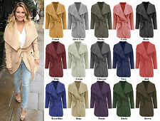 Women Ladies Celb Long Sleeve Wrapped Up Draped Belted Short Coat Cape 8-16