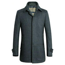 Mens Stylish OverCoat Wool Blend Trench Coat Jacket Warm Outerwear Winter Parka