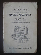SINGER SEWING MACHINES Instructions Class 175 Form 18958 Original Vintage Manual