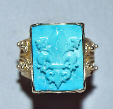 Carved Turquoise 12.06ct Fleur de Lis 14k Handcrafted Filigree Ring