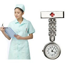 New Portable Red Cross Style Nurse Fob Brooch Round Dial Pendant Pocket Watch