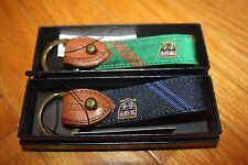 Brand New with Gift Box POLO Ralph Lauren Silk-Tie Key Fob Leather & Brass