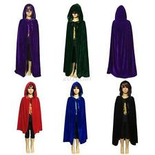 Kids Halloween Medieval Witch Hoodie Velvet Cape Robe Cloak Fancy Dress S-L  C52