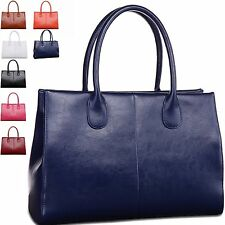 Women Classic Simple Split Leather Tote Shoulder Crossbody Large Bag