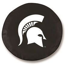 Michigan State Tire Cover with Spartans Logo on Black Vinyl
