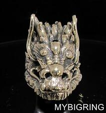 HUGE BRONZE MEN'S DRAGON SLAYER RING MEDIEVAL KNIGHT GOTHIC ANTIQUED ANY SIZE