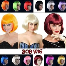 US SHIP BOB COSTUME WIGS LADIES ANIME COSPLAY FULL WIG RED BLUE PINK FANCY DRESS