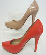 Spot On F9775 Ladies Court Shoes Coral or Nude Patent Sizes 3 x 8  (R21B)