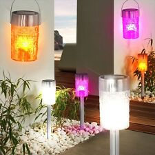 Set of 2 LED solar outdoor lighting hanging lamps garden spike party decoration