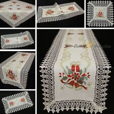 Noble Lace Tablecloth Table runner Doily White Red Gold Christmas Embroidery NEW