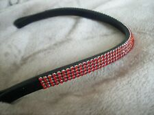BLING! Diamante*English Leather Sparkly Wave Browband*4-Rows*RED Color & Sizes