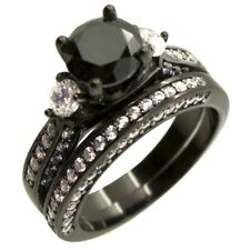Women Three Stone Black Sterling Silver Wedding Engagement Ring Set Size 5-10