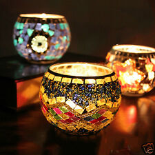 Mosaic Glass electronic Candle Light Votive Holder For Wedding Bar Home Art DECO