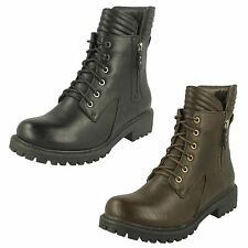Ladies Spot On Military Style Ankle Boots / Fake Outer Zip