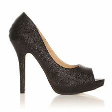 TIA Black Glitter Stiletto High Heel Platform Peep Toe Shoes