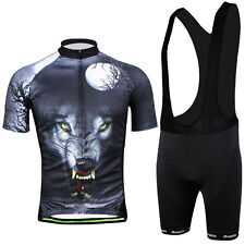 3D Wolf Men's Short Sleeve Biking Cycling Jerseys +(Bib) Shorts Set Bicycle Suit