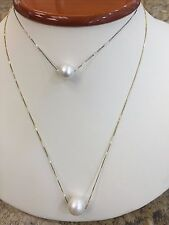 Genuine 12 & 10MM South Sea Pearl White Creamy with White ,Yellow 14K Chain Gold